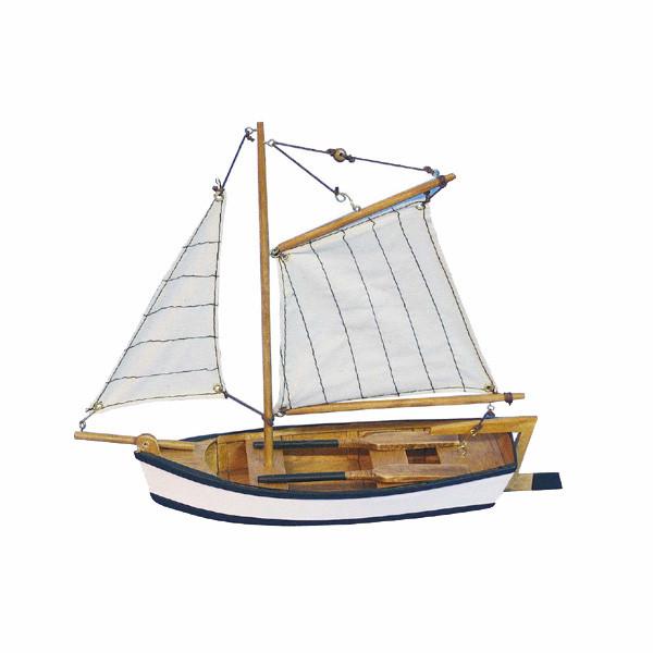 Fischerboot, Holz mit Stoffsegel, L: 25cm, H: 23cm