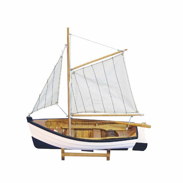 Fischerboot, Holz mit Stoffsegel, L: 32cm, H: 33cm