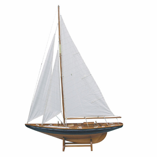 Segel-Yacht, Holz mit Stoffsegel, L: 75cm, H: 112cm