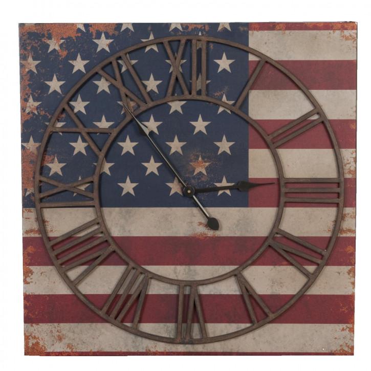"""Uhr Flagge """"USA"""" 70 x 70cm"""