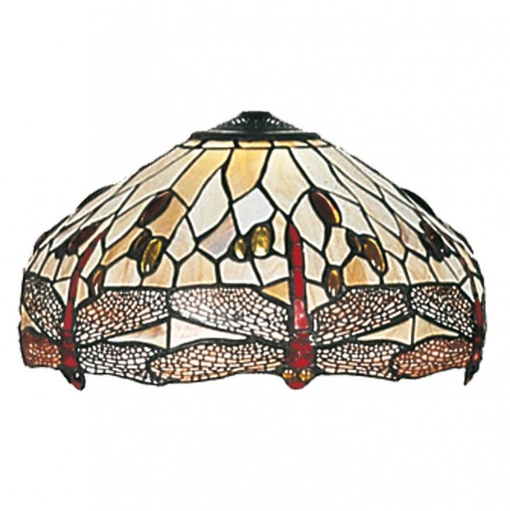 Lampenschirm Tiffany-Stil ca. Ø 40cm Weiße Libelle