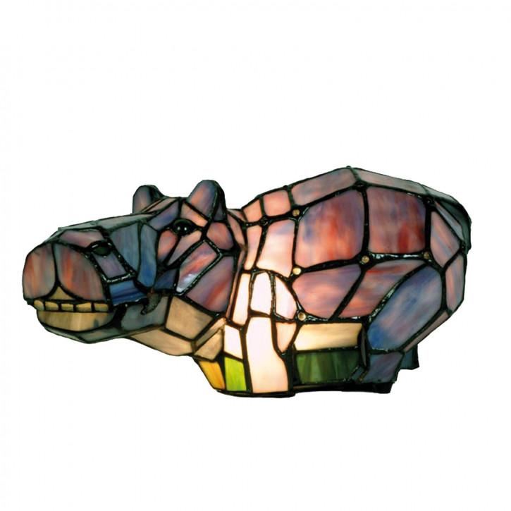 Dekolampe im Tiffany-Stil Nilpferd 17x33cm