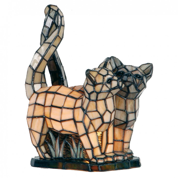 Dekolampe im Tiffany-Stil Katzenfreunde 28x36cm