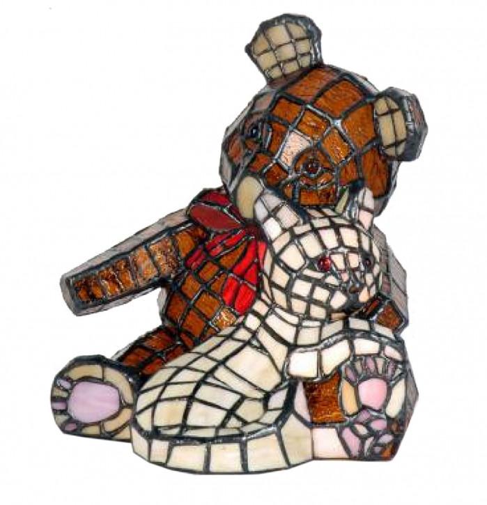 Dekolampe im Tiffany-Stil Bär und Katze 20x20x23.5cm