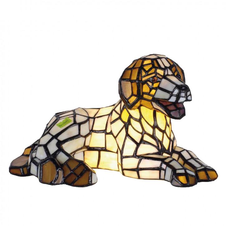 Dekolampe im Tiffany-Stil Hund 17x31cm