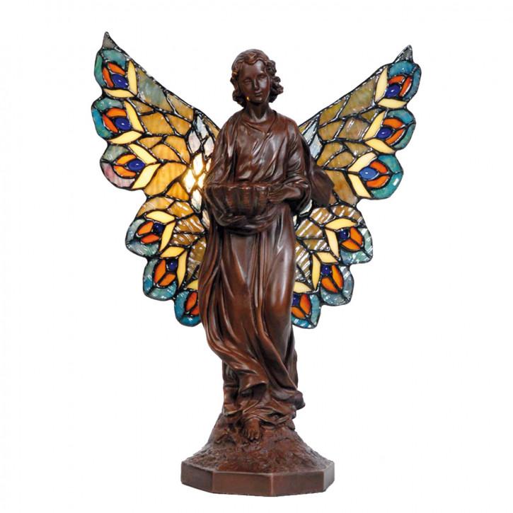 Dekolampe Engel Figur mit bunten Flügeln im Tiffany-Stil Engel 30x25cm