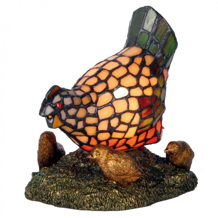 Dekolampe im Tiffany-Stil Huhn 18x30cm