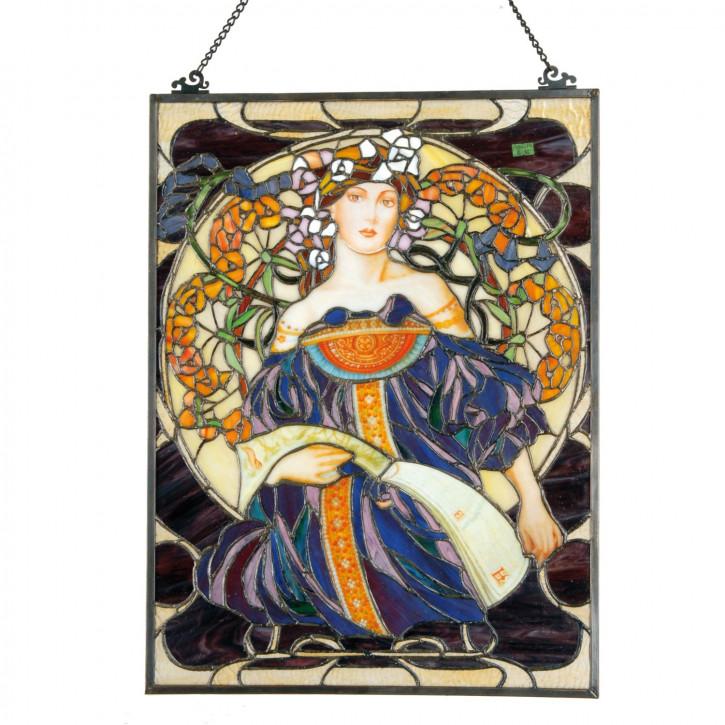Fensterbild Frau Tiffany ca. 60 x 45 cm
