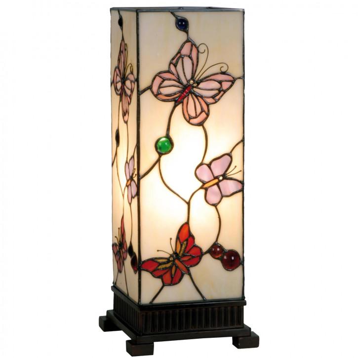Tiffany Säulenlampe Schmetterlinge hell 45x18cm