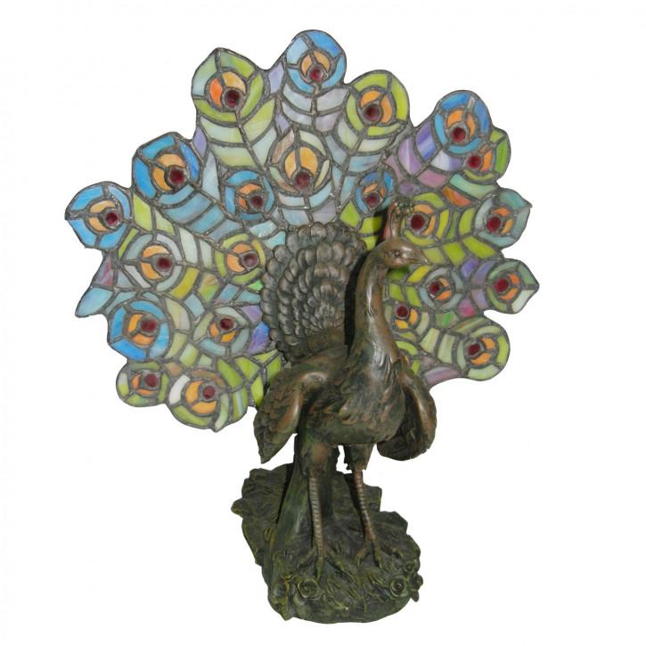 Dekolampe im Tiffany-Stil Pfau ca. 39cm