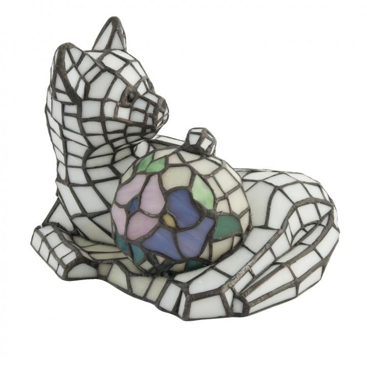 Dekolampe im Tiffany-Stil Katze 26.5x20cm
