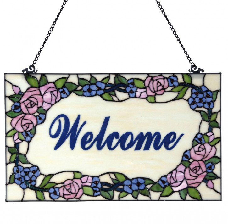 Tiffany Fensterbild Welcome
