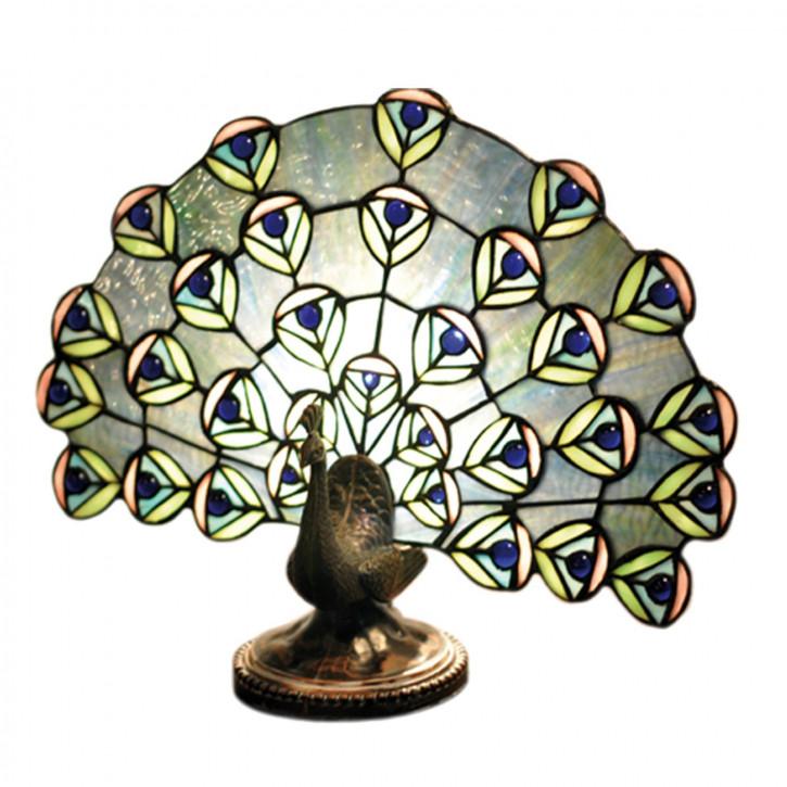Wandlampe im Tiffany-Stil Pfau 33 x 15 cm
