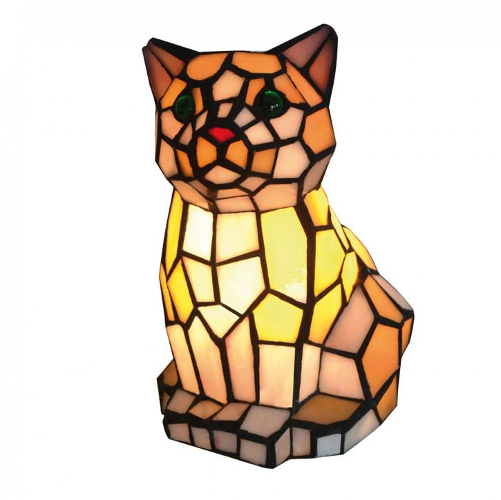 Dekolampe im Tiffany-Stil Katze 15 x 12 x 22 cm