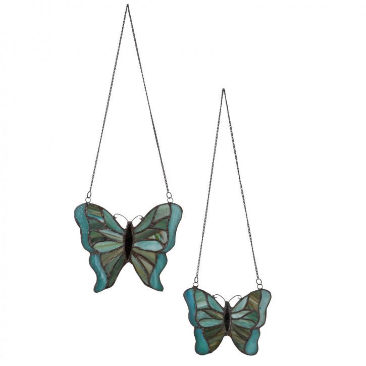 "Tiffanyfenster Schmetterlinge Set ""Blue"""