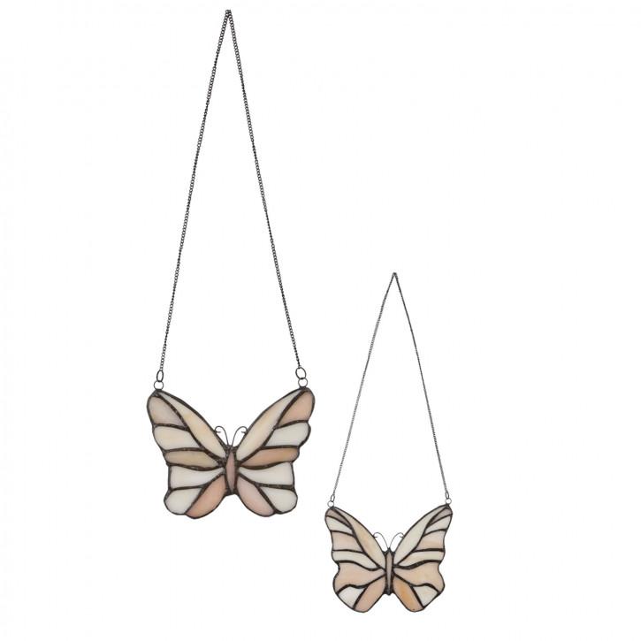 """Tiffanyfenster Schmetterlinge Set """"Apricot Cream"""""""