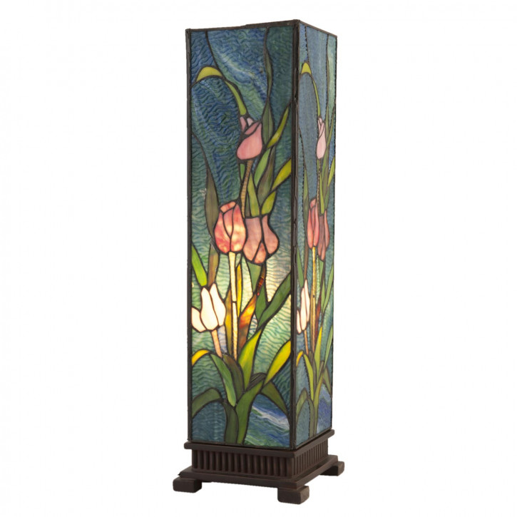 Stehlampe Lichtsäule Tiffany-Stil Blumen ca. 24 x 58,5 cm 1 x E27 Max. 60W
