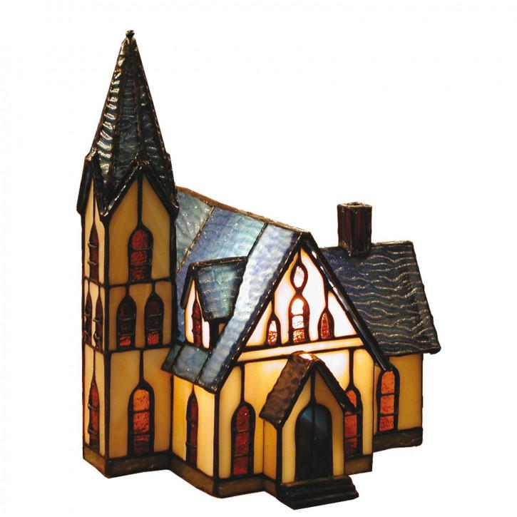 Dekolampe Tiffany Figurleuchte im Tiffany-Stil Kirche 25x20cm