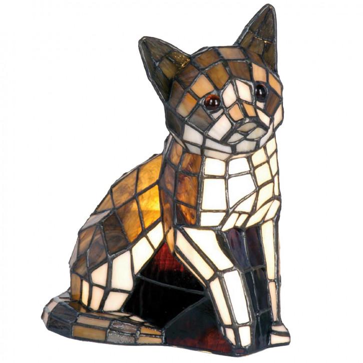Dekolampe im Tiffany-Stil Katze 24x20cm