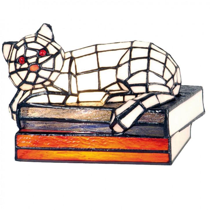 Dekolampe im Tiffany-Stil Katze mit Büchern 16x23cm