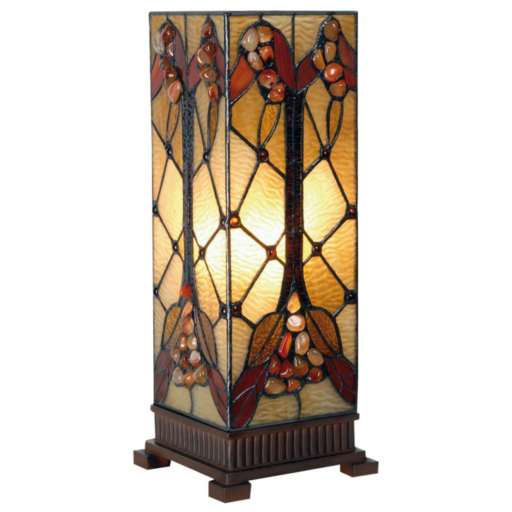 Säulenlampe im Tiffany-Stil Herbststeine 45x18cm