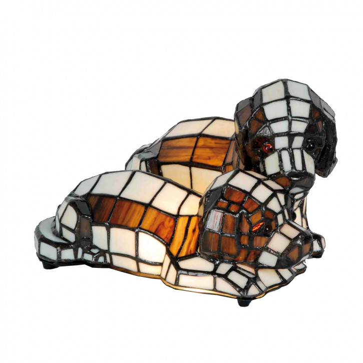 Dekolampe im Tiffany-Stil Hunde 16x25cm