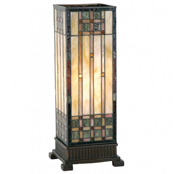 Tiffany Säulenlampe Quadratmuster 45x18cm