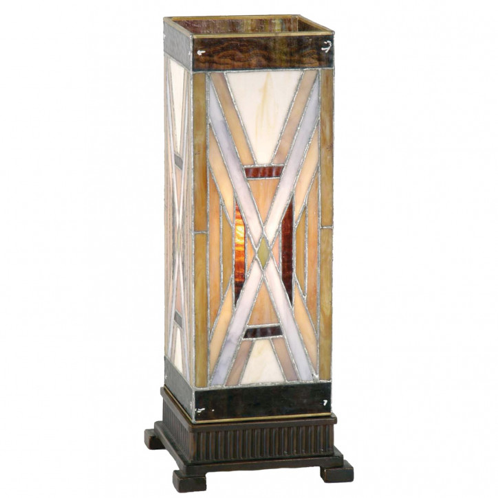 Tiffany Säulenlampe mit X-Muster 45x18cm