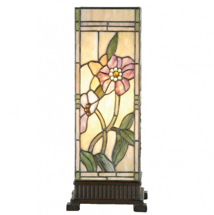 Säulenlampe im Tiffany-Stil Rosa Blüten 45x18cm
