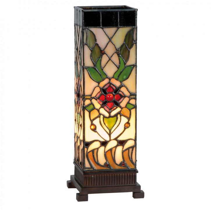 Säulenlampe im Tiffany-Stil 35x12.5cm mit floralem Muster