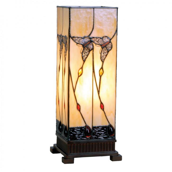 Tiffany Säulenlampe Dunkler Schmetterling 45x18cm