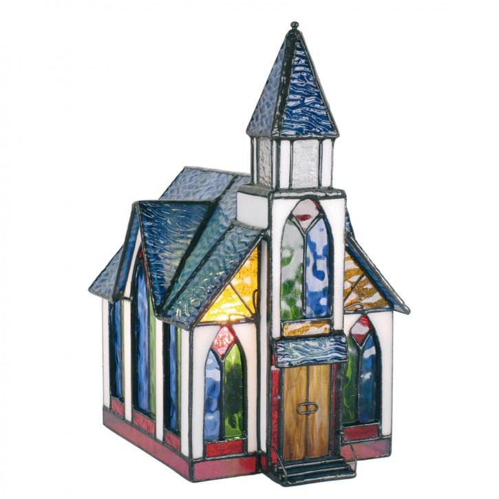 Dekolampe im Tiffany-Stil Kirche 26x18cm