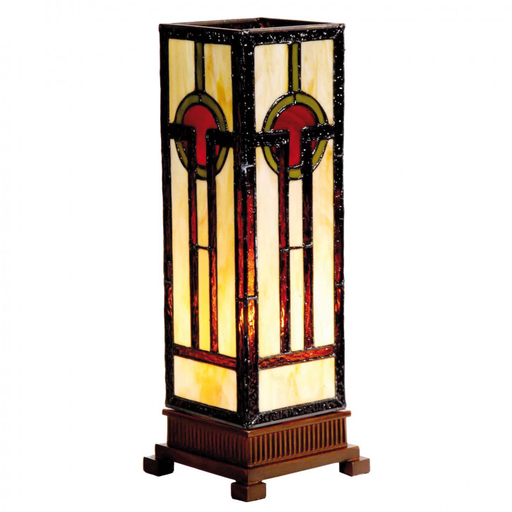 Säulenlampe im Tiffany-Stil 35x12.5cm Beistelleuchte Symmetrie