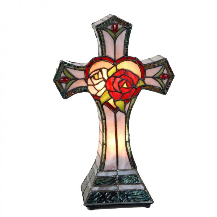 Dekolampe im Tiffany-Stil Kreuz 35x22cm