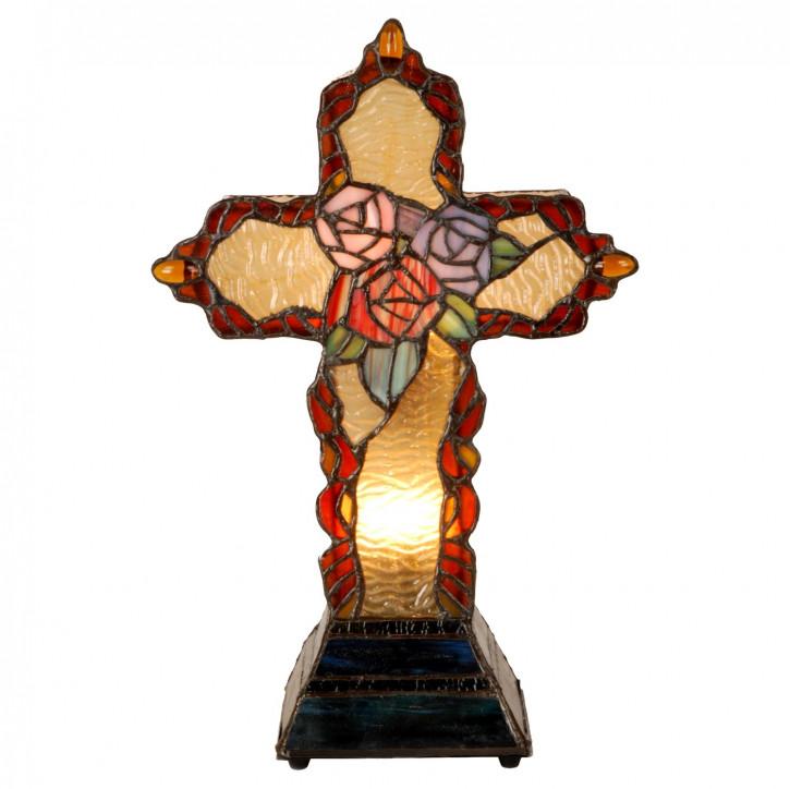Dekolampe im Tiffany-Stil Kreuz 36x26cm