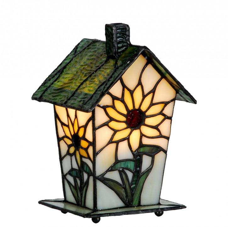 Dekolampe im Tiffany-Stil Vogelhaus Sonnenblume 20x12cm