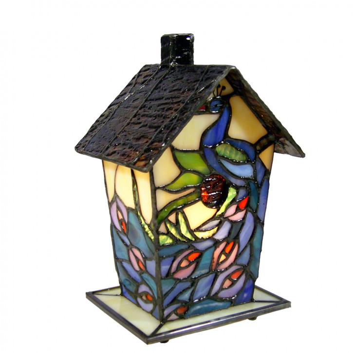 Dekolampe im Tiffany-Stil Vogelhaus Pfau 20 x 12 cm