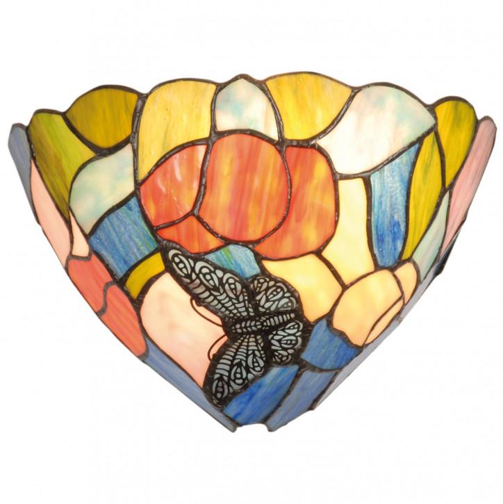 Wandlampe im Tiffany-Stil 30x19cm Schmetterling bunt