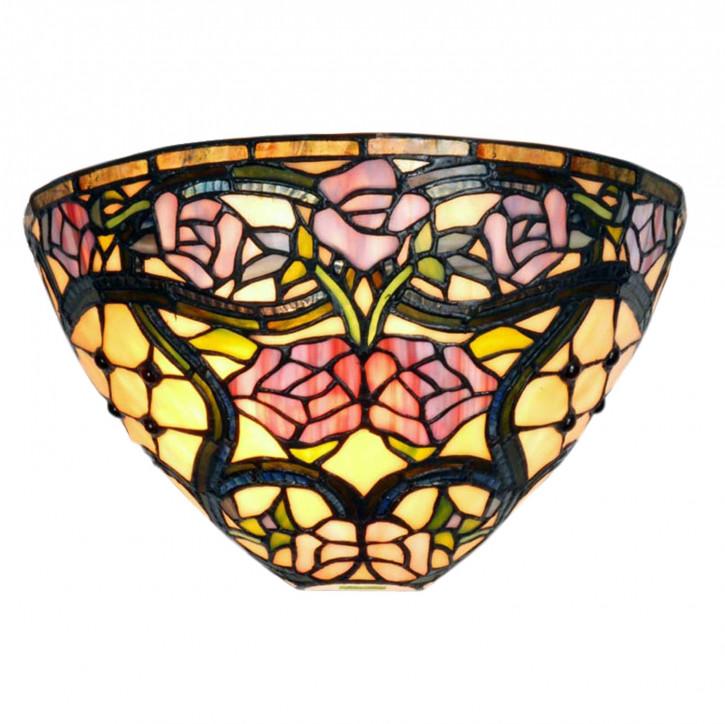 Wandlampe im Tiffany-Stil 30x19cm Rosenmuster