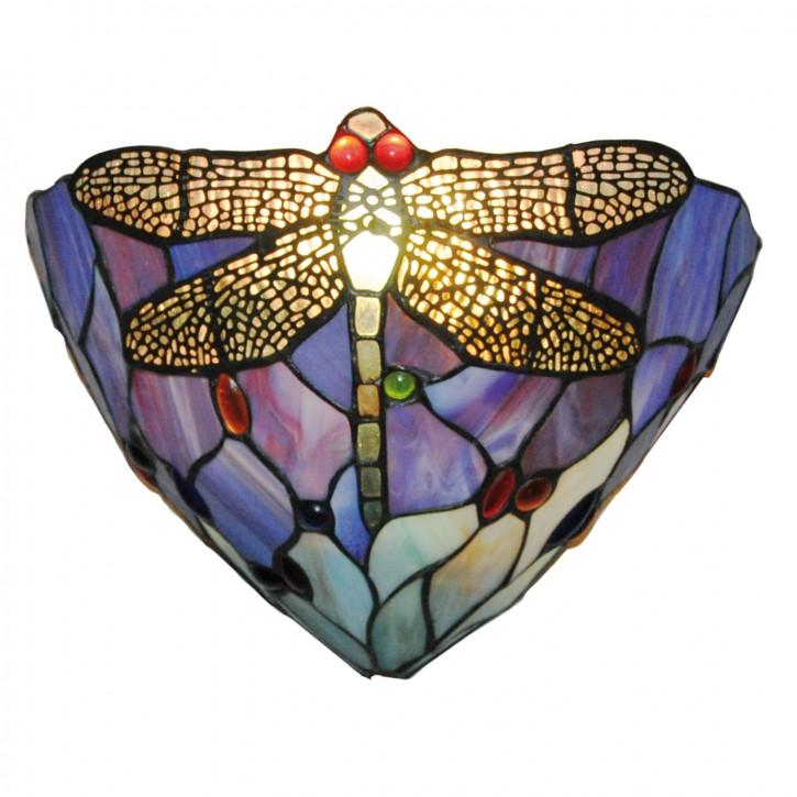 Wandlampe im Tiffany-Stil 30x19cm dunkle Libelle