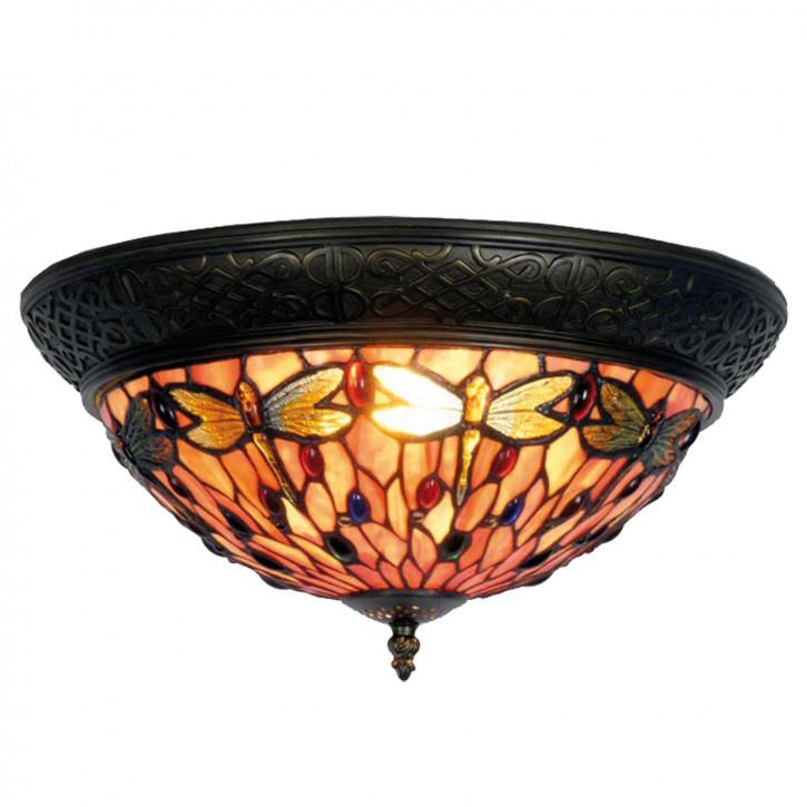 Deckenlampe im Tiffany-Stil rosa Libellen Nest 19x38cm