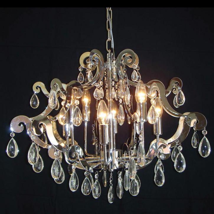 Kroonlamp Chrom met glas 8 - lichts 54-135*(d)67cm 8x E14/40w