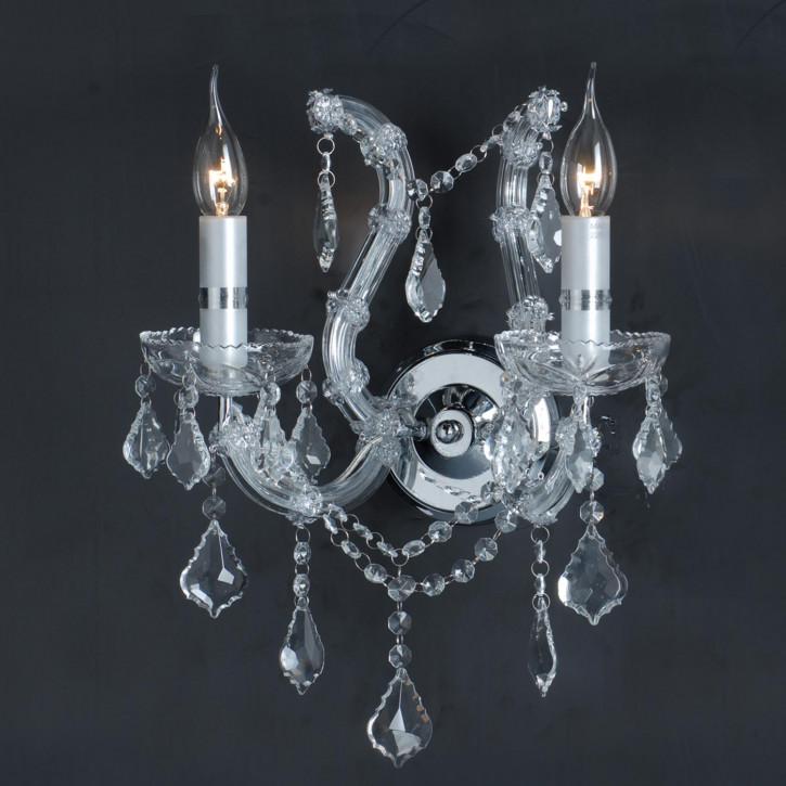Wandlamp kristal 2-lichts chroom 40 * (d)35 cm  2x E14/40w