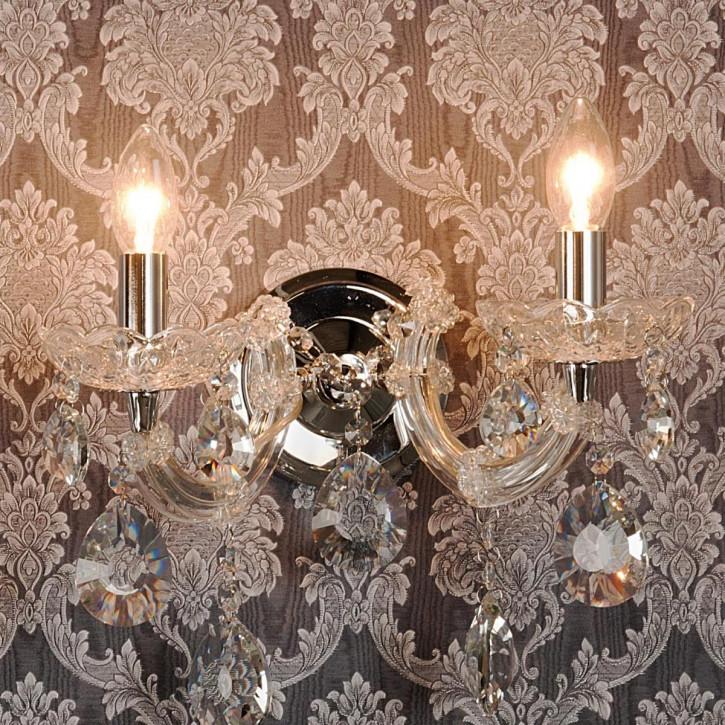 Wandlampe Lampe transparent ca. 28 x Ø 30 cm 2x E14 Max. 40W