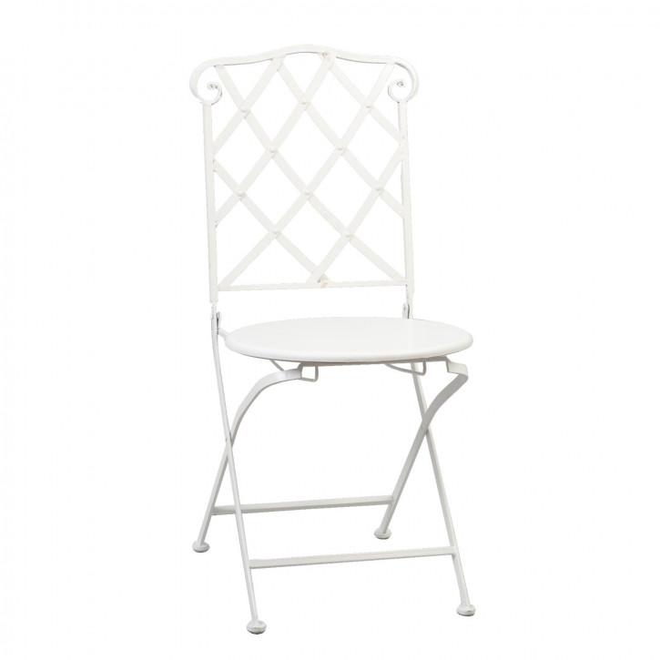 Metall-Stuhl mit runder Sitzfläche, in weiß