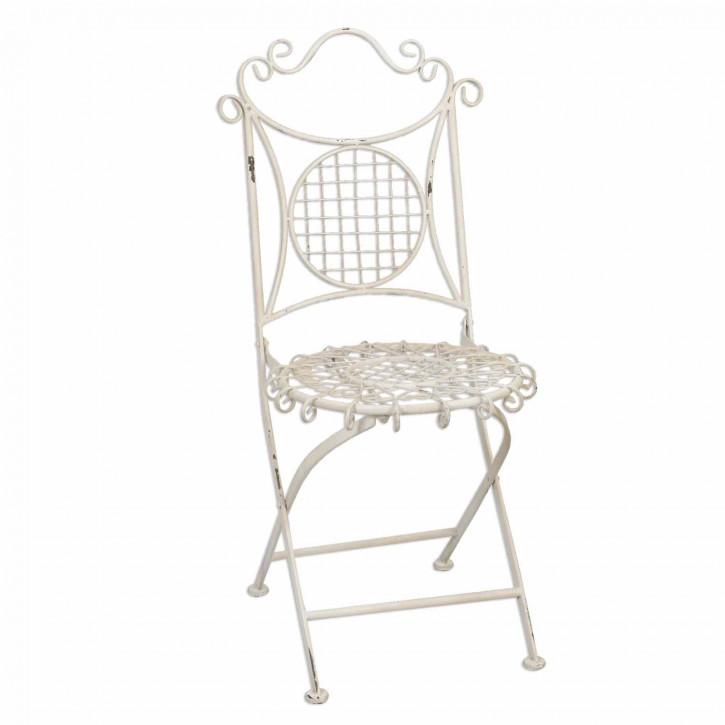 Verschnörkelter Metall-Stuhl in beige
