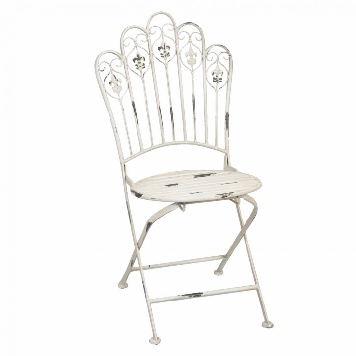Gartenstuhl im Used-Look aus Metall, in weiß