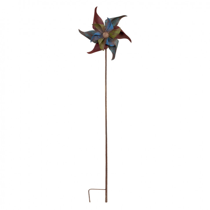 Gartenstab Windrad Metall bunt ca. 30 x 15 x 142 cm