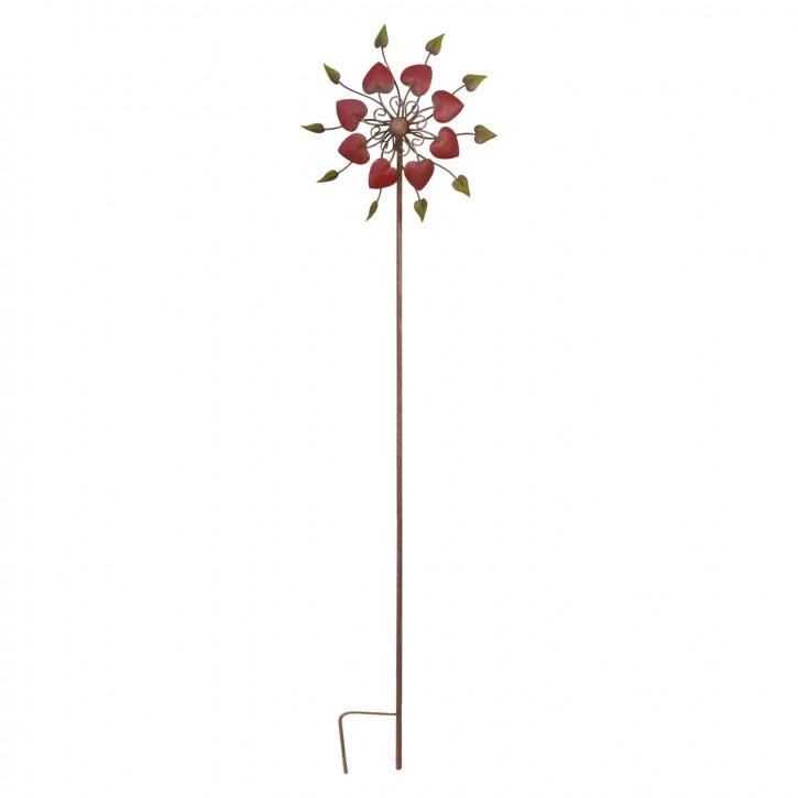 Gartenstab Windrad Metall mit Herzen ca. 31 x 15 x 146 cm