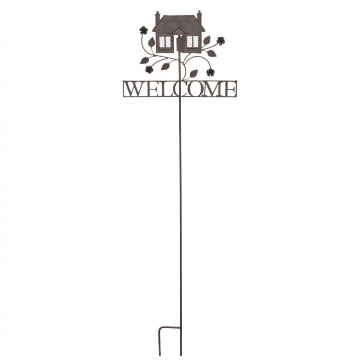 Gartenverzierung Haus Welcome zum Einstecken in die Erde ca. 35 x 120 cm